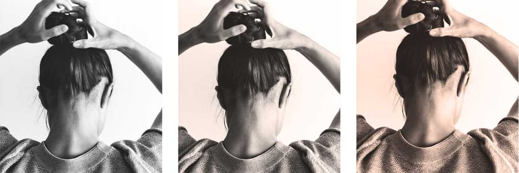 Woman fixing hair