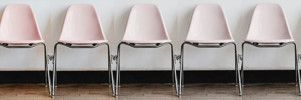 Row of chairs in a waiting room